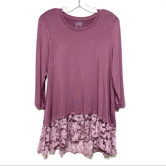 LOGO by Lori Goldstein Knit Top with Lace Band in Plum Blossom S NWOT